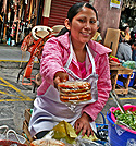 Mexican woman selling Gorditas